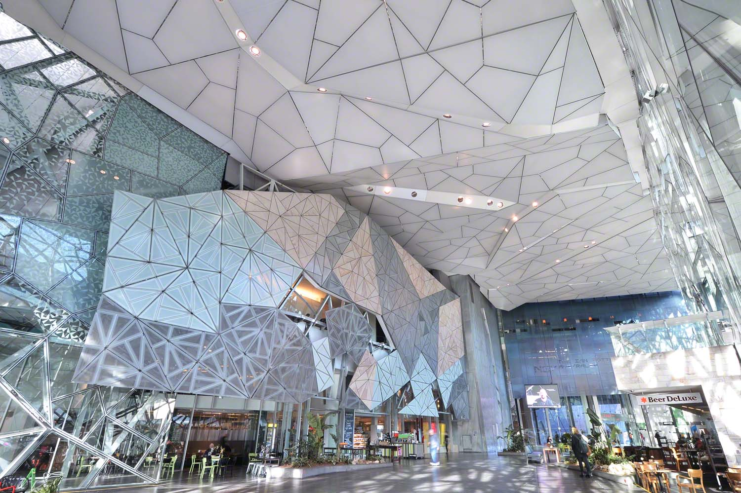 acoustic stretch ceiling in the hall of the Federation Square in Australia