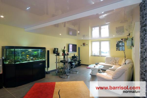 eclairage par spots int gr s dans le plafond tendu. Black Bedroom Furniture Sets. Home Design Ideas