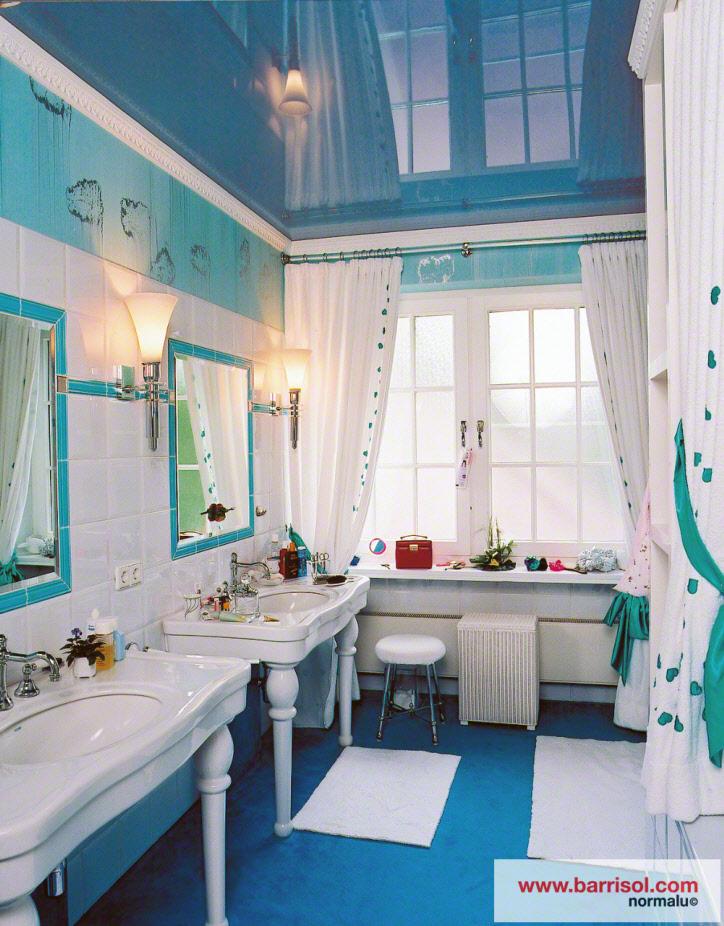 photos plafond tendu particulier : salle de bain - Plafond De Salle De Bain