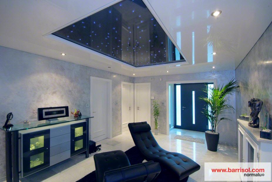 Photos plafond tendu particulier salon for Miroir au plafond