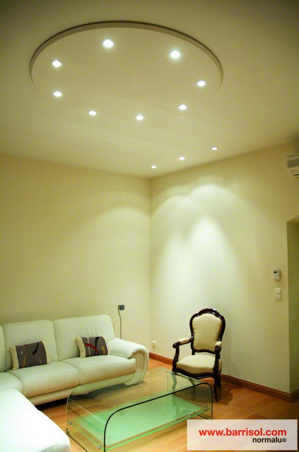 photos de plafond tendu dans des salons avec spots. Black Bedroom Furniture Sets. Home Design Ideas