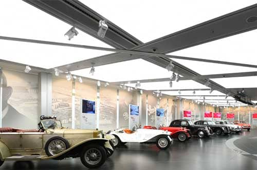 Alfa Romeo showroom with illuminated stretch ceiling