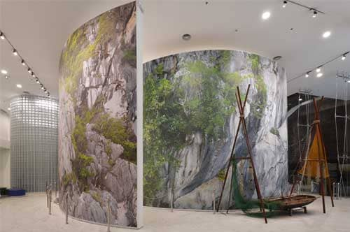 Museum with a huge printed textile wall solution