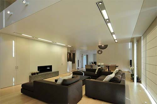 Living room with stretch ceiling