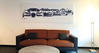 Barrisol® frames in the Bugatti showroom